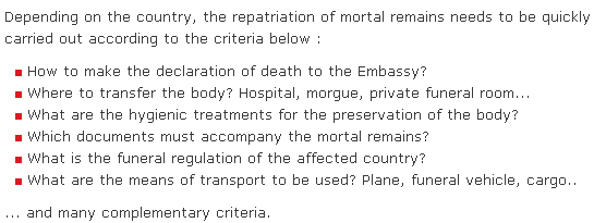 Body repatriation